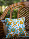 Fields of Sunflower Hand Block Print Cotton Cushion Cover (12 Inch) - Pinklay