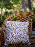 Fields of Sunflower Hand Block Print Cotton Cushion Cover (16 Inch) - Pinklay