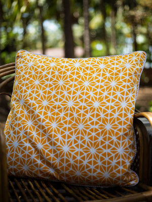 Fields of Sunflower Hand Block Print Cotton Cushion Cover (24 Inch) - Pinklay