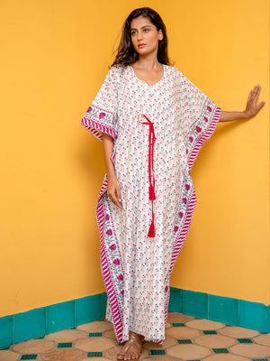 Fields of Roses Hand Block Printed Kaftan - Pinklay