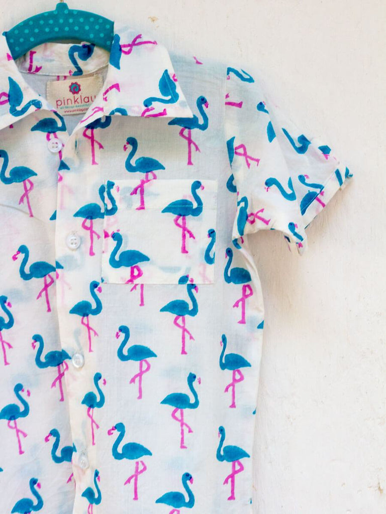 Flamingo Dance Organic Cotton Shirt Kids Clothing