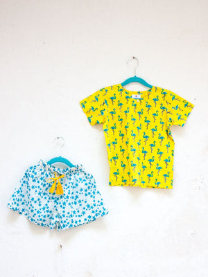 Flamingo Dance Organic Cotton Top & Shorts Set Kids Clothing