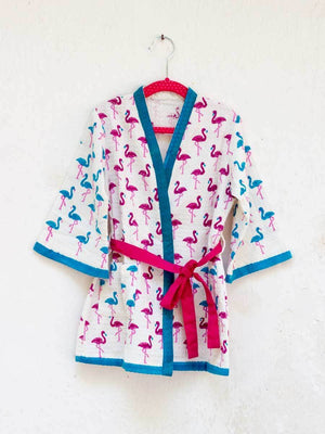 Flamingo Dance Premium Waffle Cotton Bath Robe - Pinklay