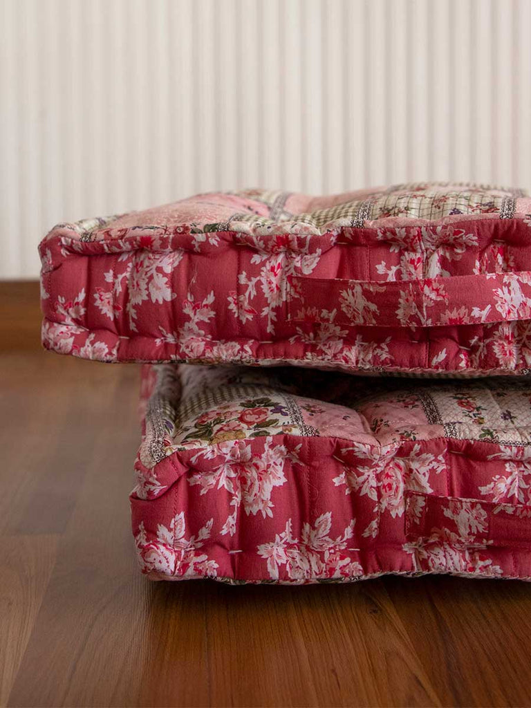 Flora Checkered Fabric Floor Cushions - Pinklay