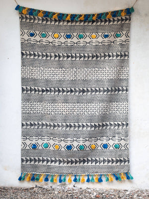 Azar Handloom Cotton Dhurrie Rug - Pinklay