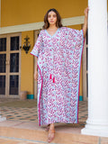 Garden of Senses Hand Block Printed Kaftan With Pompoms - Pinklay