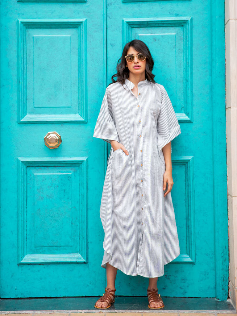 Grey Stripes Daabu Kaftan Cotton Shirt Dress - Pinklay