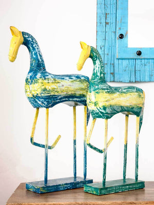 Solid Wood and Metal Horse Vintage Finish Sculpture - Set of 2 Home Decor