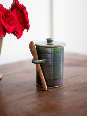 Emerald City Hand-Thrown Ceramic Jar With Wooden Spoon