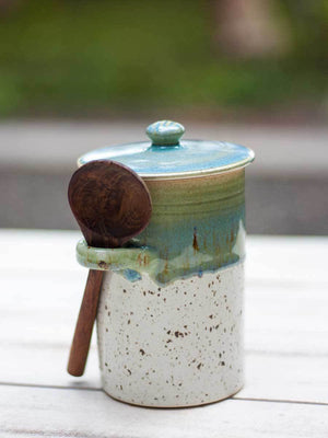 First Rain Hand-Thrown Ceramic Jar With Wooden Spoon - Pinklay
