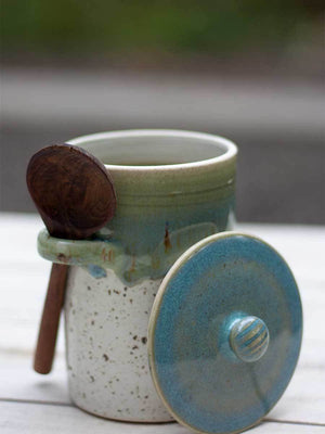 First Rain Hand-Thrown Ceramic Jar With Wooden Spoon Ceramics