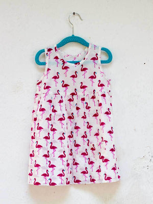 Flamingo Everyday Dress with a Pocket Kids Clothing