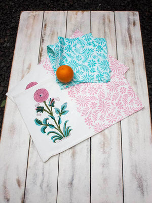 Royal Table Hand Block Print Cotton Table Mats - Set of 2 Table Mats Runners Napkins Tea Cozy