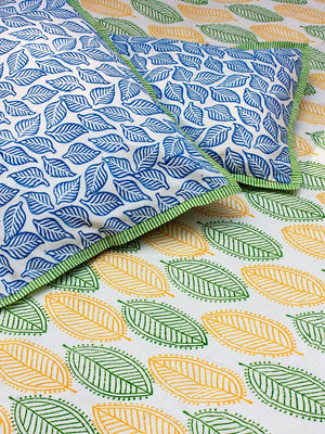 Leaves and Greens Hand Block Print Cotton Pillow Cover - Set of 2 - Pinklay