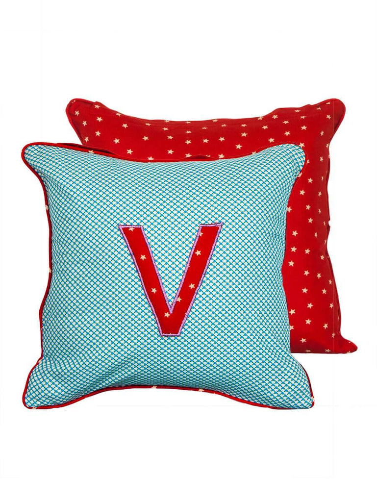 Letter V Cotton Alphabet Cushion Cover - 12 Inch - Pinklay