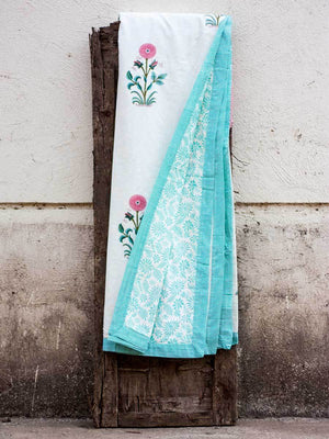 A Wishful Marigold Cotton Muslin Dohar, Hand Block Print Summer Blanket - Pinklay