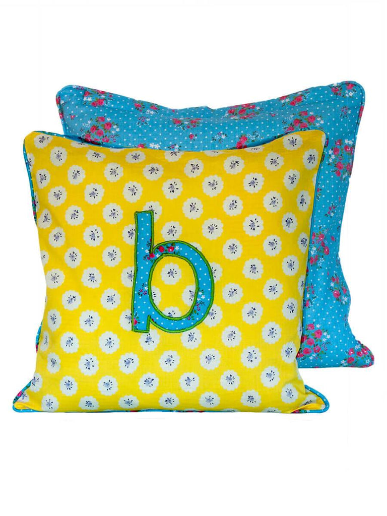 Letter B Cotton Alphabet Cushion Cover - 12 Inch - Pinklay