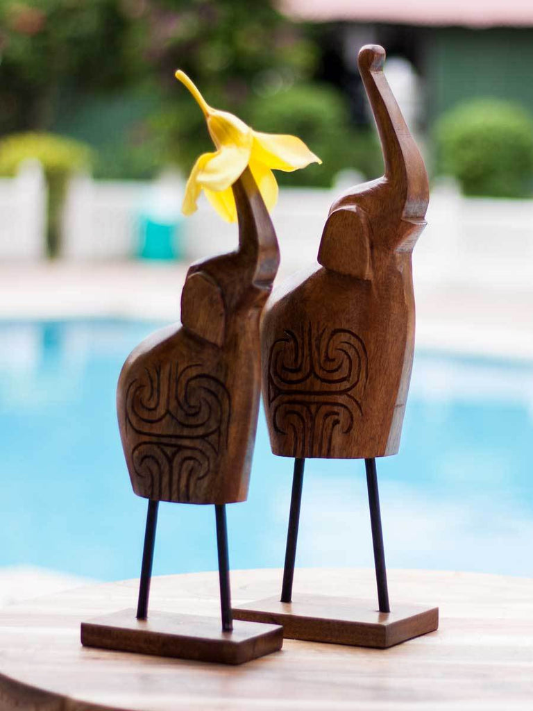 Handcarved Decorative Wooden Elephant Sculpture - Set of 2 - Pinklay