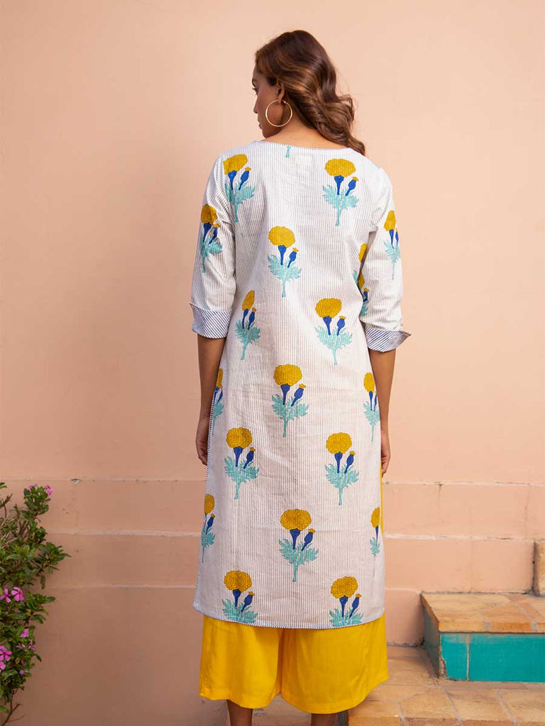 Fields of Marigold Cotton Kurta - Pinklay