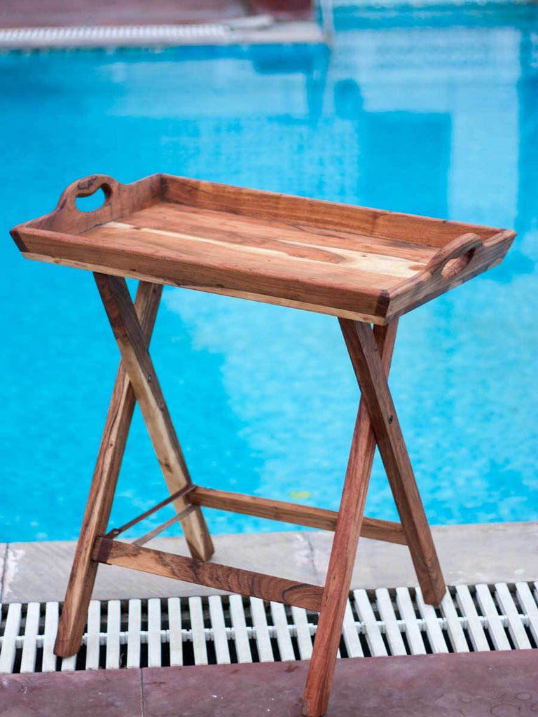 Rectangular Solid Wood Butler Tray With Stand - Pinklay
