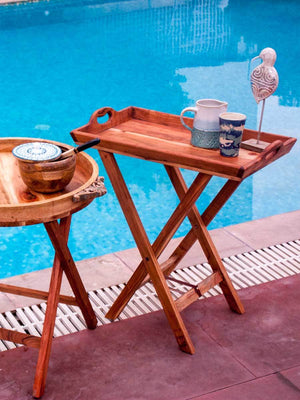 Rectangular Solid Wood Butler Tray With Stand Coffee Table & Trays