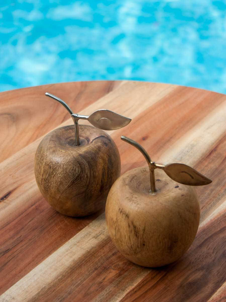 Solid Wood Decorative Apple With Metal Decoration - Set of 2 Home Decor