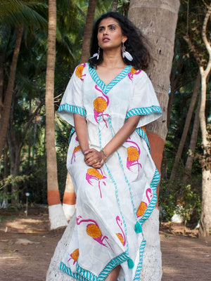 Flamingo Hand Block Printed Cotton Kaftan - Pinklay