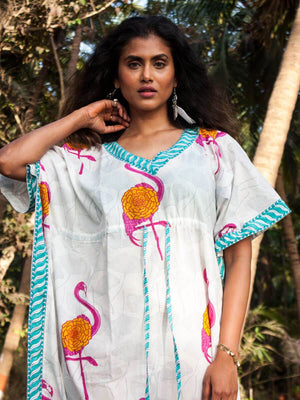 Flamingo Hand Block Printed Cotton Kaftan Kaftans
