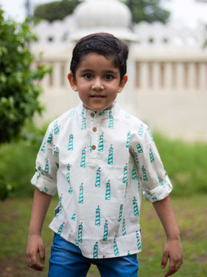 Lighthouse Shirt Kurta with Roll Up Sleeves (Short Kurta) - Pinklay