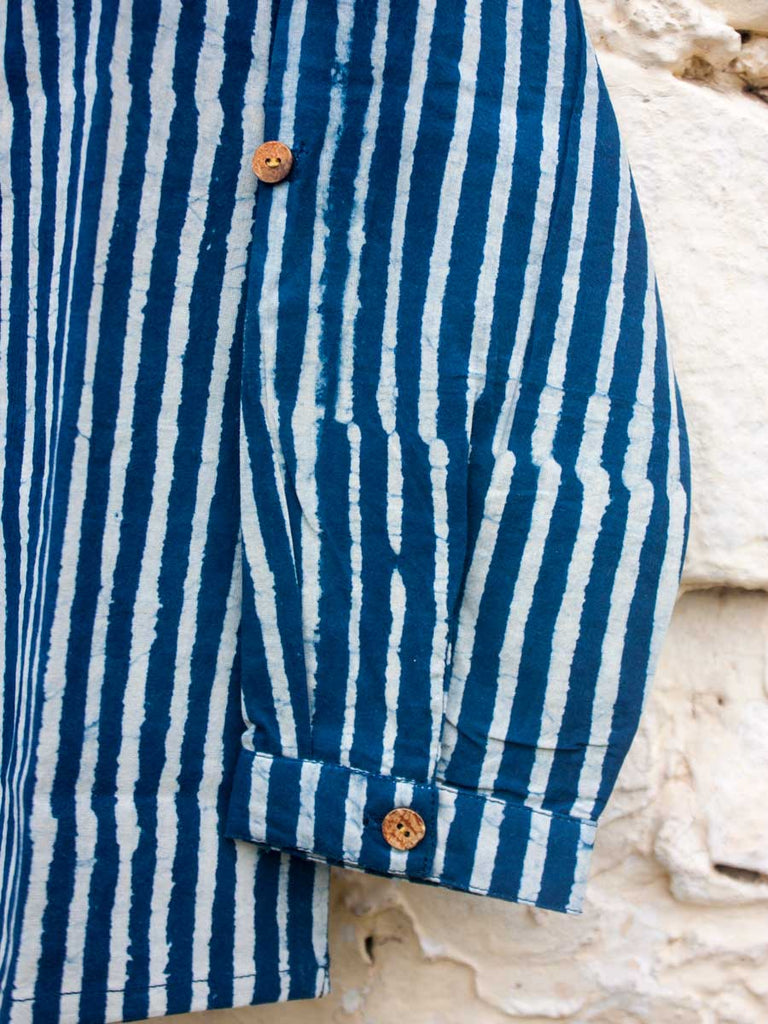 Indigo Stripes Shirt Kurta with Roll Up Sleeves (Short Kurta) - Pinklay