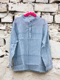 Evergreen Grey Stripes Shirt Kurta with Roll Up Sleeves (Short Kurta) - Pinklay