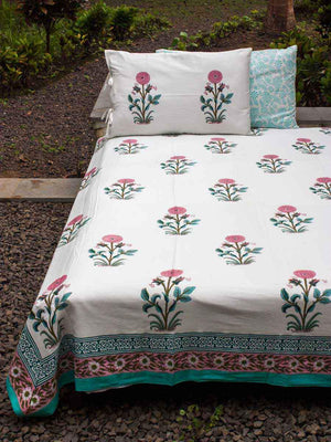 Indian Marigold Block Print Cotton Double Bed Sheet Set With 2 Pillow Covers Bed Sheet