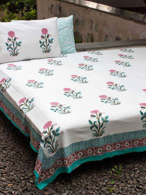 Indian Marigold Block Print Cotton Double Bed Sheet Set With 2 Pillow Covers - Pinklay