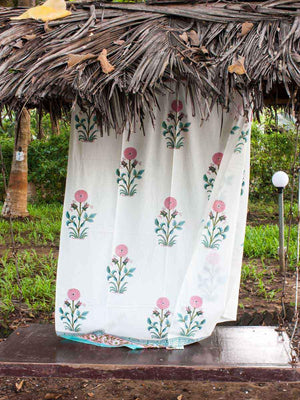 Marigold Hand Block Cotton Curtain with Border & Concealed Loops - Pinklay