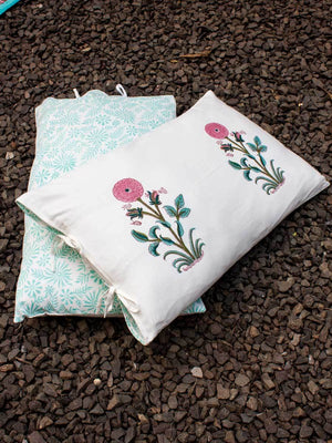 Marigold Hand Block Print Cotton Pillow Cover - Set of 2 Pillow Covers