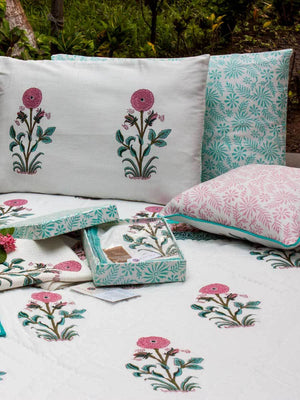 Marigold Hand Block Print Cotton Pillow Cover - Set of 2 - Pinklay