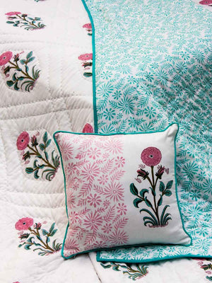 A Wishful Marigold Hand Block Print Cotton Quilt - Pinklay