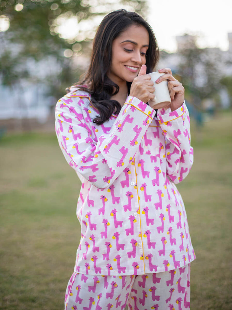 Pink Giraffe Soft Cotton Pajama Set