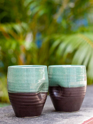 Jade Imperial Dimpled Hand-Thrown Ceramic Tumbler - Pinklay