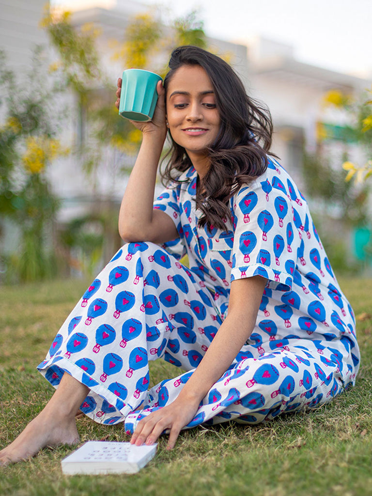 Blue Hot Air Balloon Soft Cotton Pajama Set