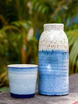 Blue Sky Hand-Thrown Ceramic Carafe - Pinklay