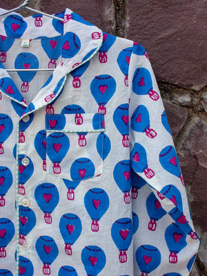 Blue Hot Air Balloon Organic Cotton Top & Pajama Set - Pinklay