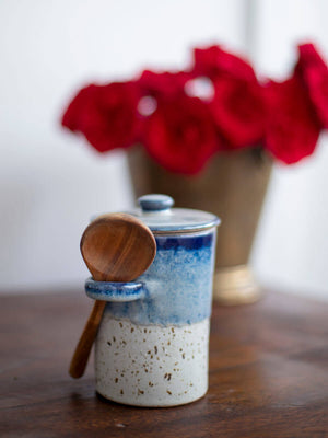 Milky Way Hand-Thrown Ceramic Jar With Wooden Spoon - Pinklay