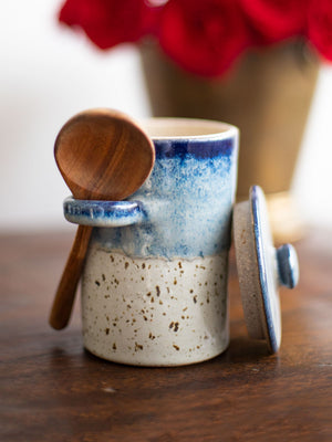 Milky Way Hand-Thrown Ceramic Jar With Wooden Spoon