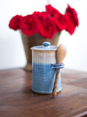 Midnight Indigo Hand-Thrown Ceramic Jar With Wooden Spoon