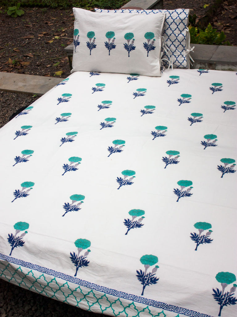 Summer Poetry Hand Block Print Cotton Bed Sheet Set With 2 Pillow Covers