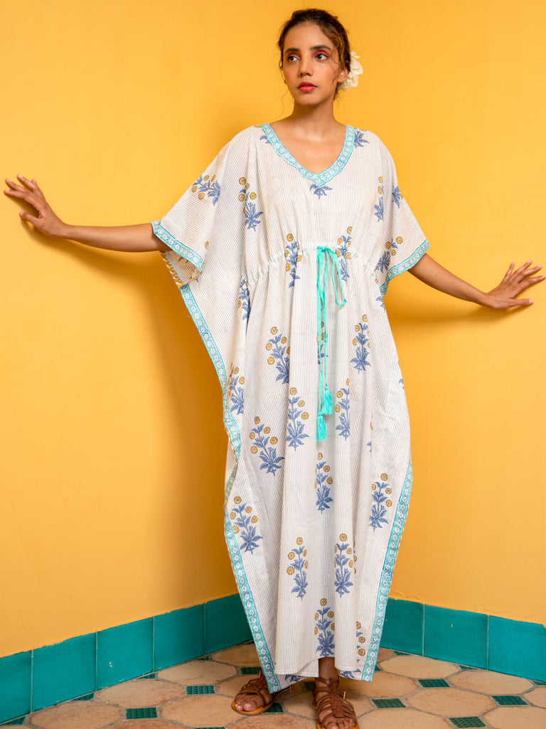 Inaayat Printed Cotton Kaftan -Pinklay