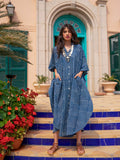 Indigo Stripes Daabu Kaftan Cotton Shirt Dress