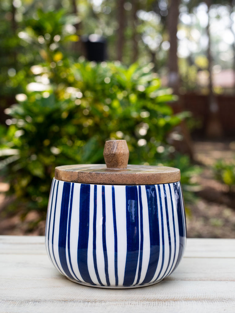 Indigo Rain Wooden Jar - Set of 2 - Pinklay