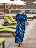 Jheel Indigo Daabu Modal Silk Kaftan Dress - Pinklay